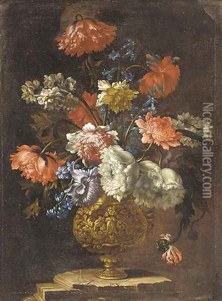 Carnations, narcissi, morning glory and peonies in a gilt vase on a ledge Oil Painting - Jean-Baptiste Monnoyer