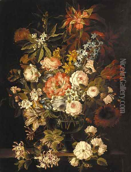 Hyacinth, roses, tulips, peonies, honeysuckle and other flowers in a glass vase on a stone ledge Oil Painting - Jean-Baptiste Monnoyer