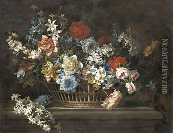 Peonies, narcissi, daffodils and other flowers in a basket on a stone ledge Oil Painting - Jean-Baptiste Monnoyer