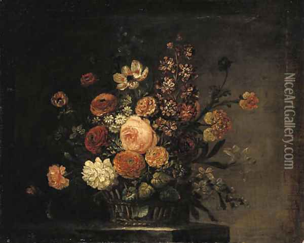 Roses, tulips, carnations and other flowers in a basket on a stone ledge Oil Painting - Jean-Baptiste Monnoyer