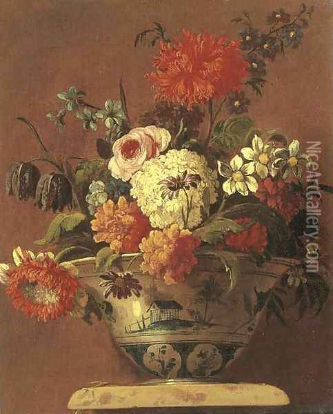 Carnations, daisies, a rose and other flowers in a chinoiserie bowl on a pedestal Oil Painting - Jean-Baptiste Monnoyer