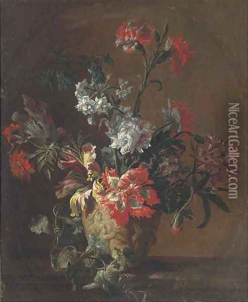 Carnations, parrot tulips, narcissi and other flowers in a sculpted urn on a ledge Oil Painting - Jean-Baptiste Monnoyer