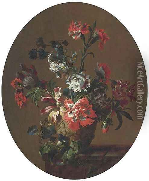Carnations, parrot tulips, poppies, morning glory and other flowers Oil Painting - Jean-Baptiste Monnoyer