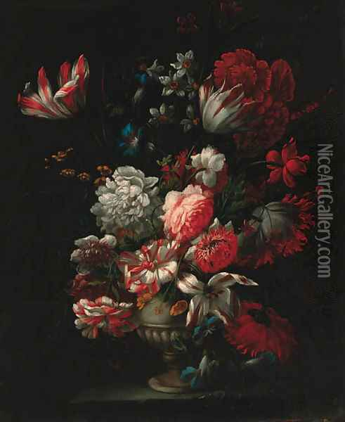 Carnations, tulips, narcisi, morning glory and other flowers in a vase on a ledge Oil Painting - Jean-Baptiste Monnoyer