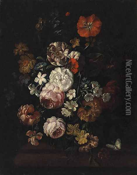 Pink and White Roses, a Poppy, Morning Glory and other Flowers in a Vase on a Ledge Oil Painting - Jean-Baptiste Monnoyer
