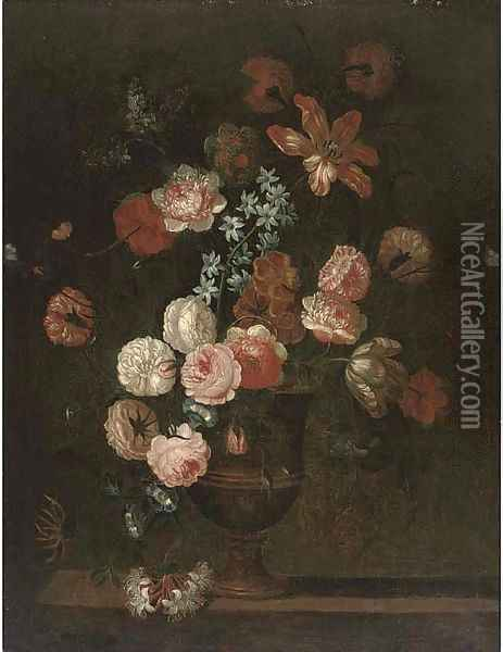 Roses, a parrot tulip, morning glory and other flowers in an urn on a ledge Oil Painting - Jean-Baptiste Monnoyer