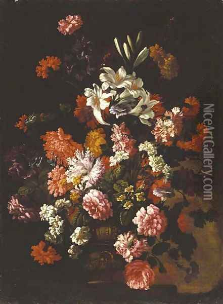 Roses, carnations, lillies, blue bells, morning glory and other flowers in an urn on a ledge Oil Painting - Jean-Baptiste Monnoyer