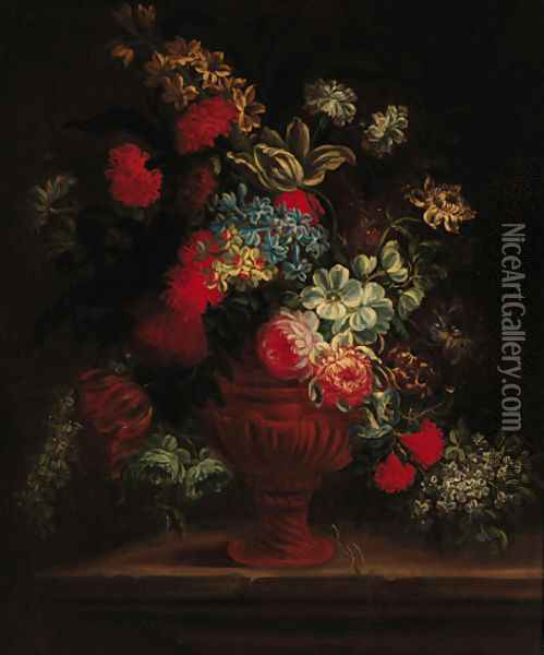Roses, carnations, peonies, morning glory and other flowers in a sculpted urn on a ledge Oil Painting - Jean-Baptiste Monnoyer
