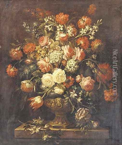 Roses, tulips, carnations, forget-me-nots and other flowers in a sculpted urn on a ledge Oil Painting - Jean-Baptiste Monnoyer