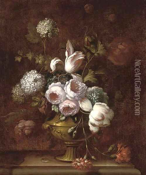 Roses, tulips, carnations, morning glory and other flowers in an urn on a ledge Oil Painting - Jean-Baptiste Monnoyer