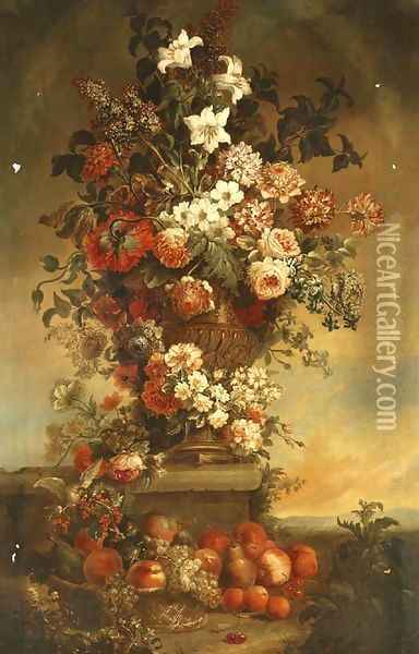 Tulips, lilies, carnations, roses and other flowers in an urn on a stone ledge, with fruit in a basket below Oil Painting - Jean-Baptiste Monnoyer