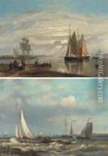 Barges In A Stiff Breeze; And Barges In A Calm Oil Painting - Abraham Hulk Jun.