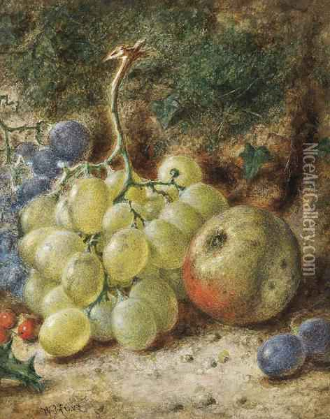 Grapes, An Apple And Holly Berries On A Mossy Bank Oil Painting - William Henry Hunt