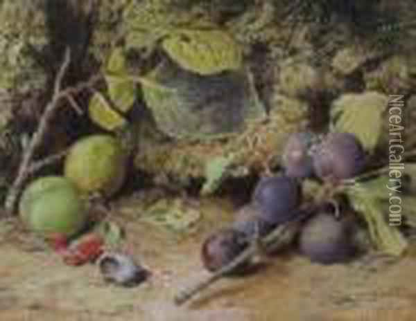 Still Life With Plums And A Snail Shell Oil Painting - William Henry Hunt