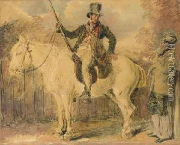 A Gamekeeper On A Horse And Another Man Conversing Oil Painting - William Henry Hunt
