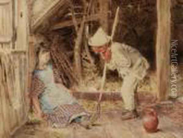 A Nap Inthe Barn Oil Painting - William Henry Hunt