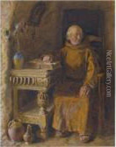 A Monk Sitting In His Cell Oil Painting - William Henry Hunt