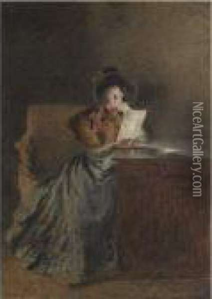 A Girl Reading A Letter By Lamplight Oil Painting - William Henry Hunt
