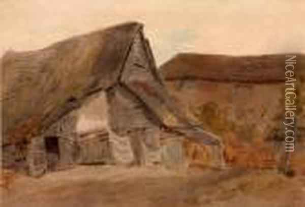 Thatched Cottages At St Albans Oil Painting - William Henry Hunt