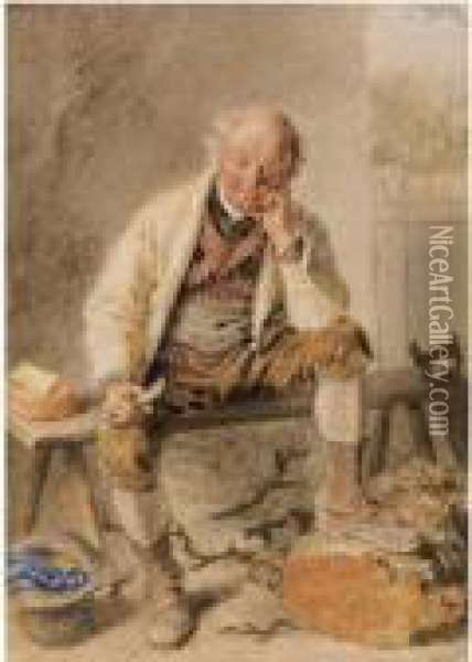 The Carpenter's Lunch Oil Painting - William Henry Hunt