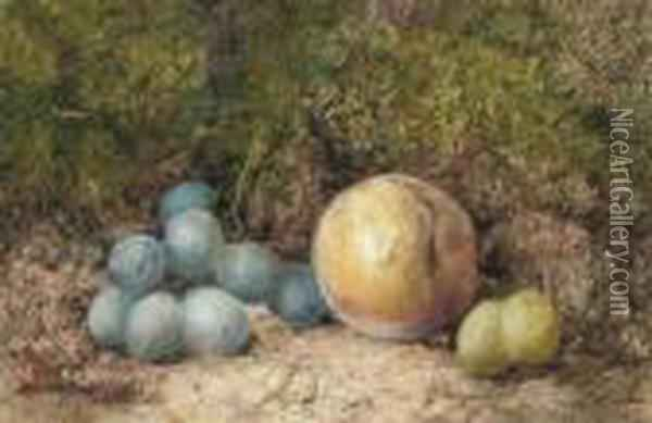 A Still Life Of Grapes And A Peach On A Mossy Bank Oil Painting - William Henry Hunt