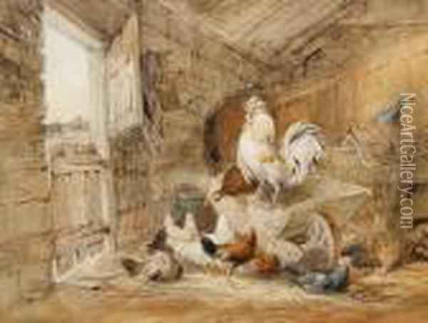 Chickens And A Rooster In A Barn Oil Painting - William Henry Hunt