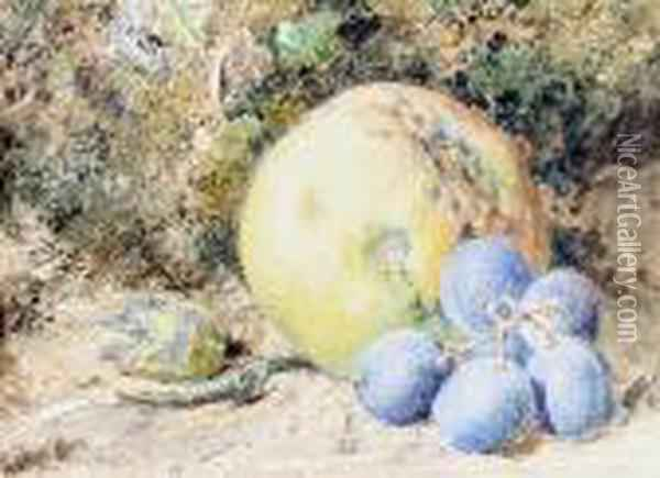 A Still Life Of An Apple And Grapes On A Mossybank Oil Painting - William Henry Hunt