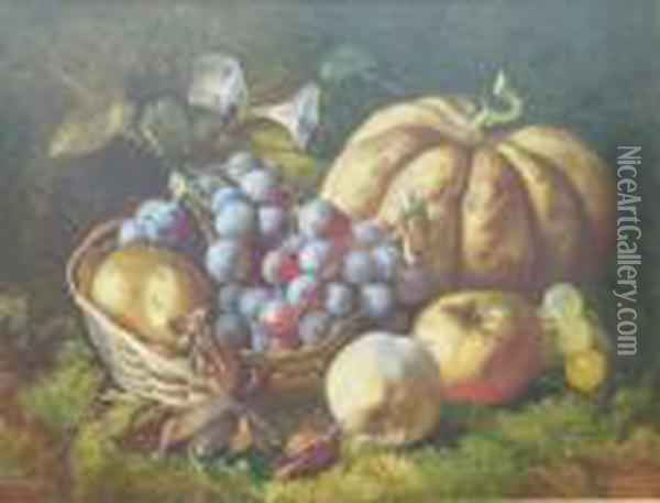 A Still Life With Grapes , Apples And Melon On A Mossy Bank Oil Painting - William Henry Hunt