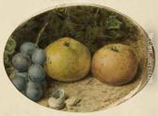 Still Life Of Apples And Grapes On A Mossybank Oil Painting - William Henry Hunt