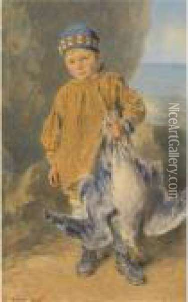 A Fisher Boy Oil Painting - William Henry Hunt
