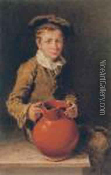 Portrait Of One Of The Swain Brothers Holding A Pitcher Oil Painting - William Henry Hunt
