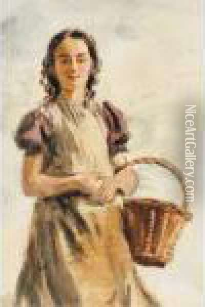 Young Girl With Basket Oil Painting - William Henry Hunt
