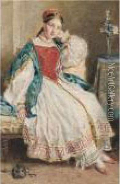 A Circassian Lady Oil Painting - William Henry Hunt