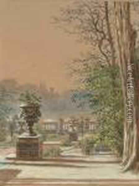 A Formal Garden; A Country Landscape. Oil Painting - William Henry Hunt