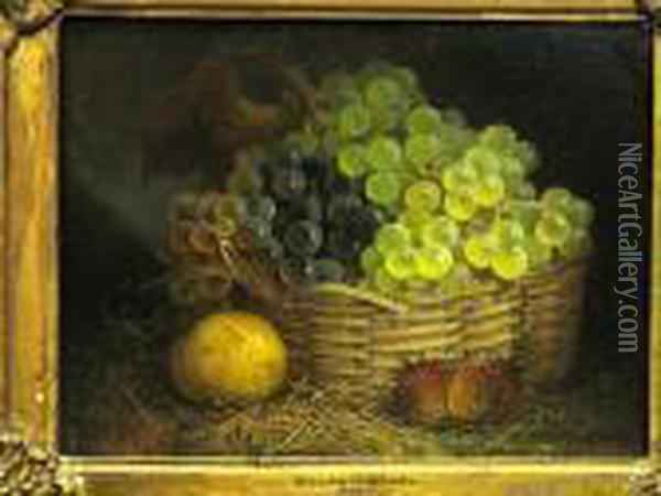 A Still Life With A Basket Of Grapes And Other Fruit Oil Painting - William Henry Hunt