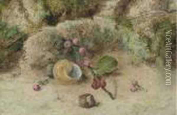 Still Life Of A Shell And Berries On A Mossy Bank Oil Painting - William Henry Hunt