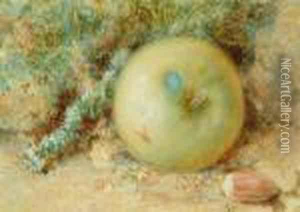 Still Life - An Apple On An Earthy Bank Oil Painting - William Henry Hunt