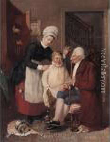 The Dentist's Surgery Oil Painting - William Henry Hunt