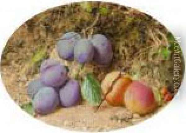 Still Life With Peaches And Plums On A Mossy Bank Oil Painting - William Henry Hunt