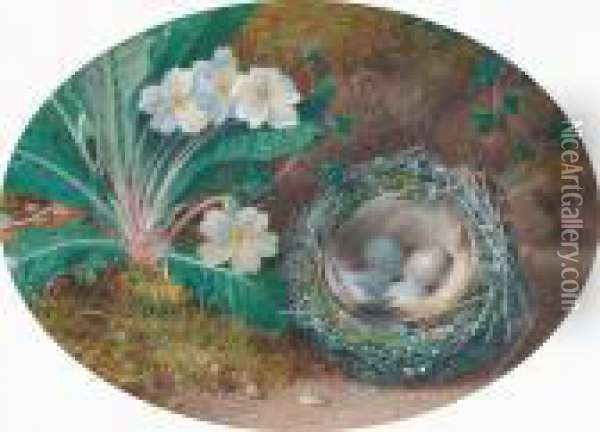 A Primrose And Birds Nest Oil Painting - William Henry Hunt