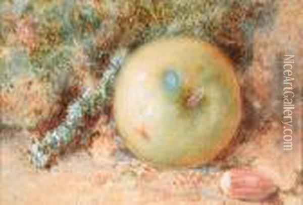 Still Life Of An Apple Oil Painting - William Henry Hunt