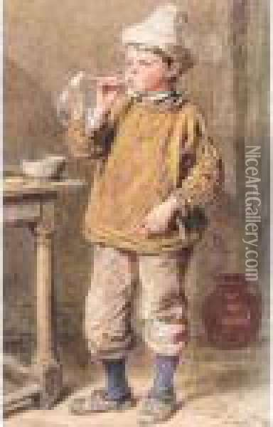 A Boy Blowing Bubbles Oil Painting - William Henry Hunt