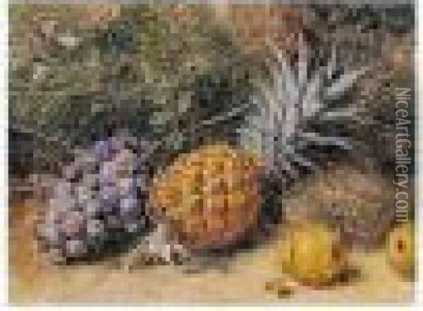 Still-life Of Grapes, A Pineapple And Pears Oil Painting - William Henry Hunt