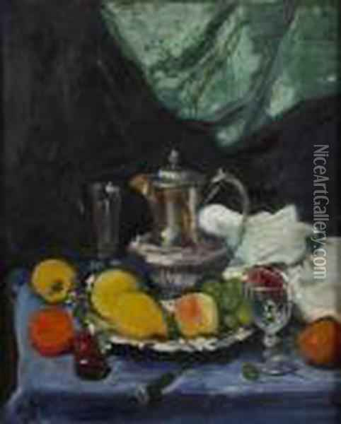 Still Life With Silver Teapot Oil Painting - George Leslie Hunter
