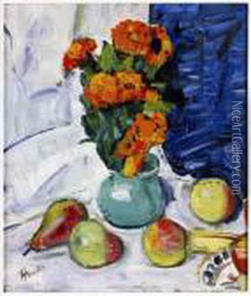 Still Life Of Marigolds And Blue Curtain Oil Painting - George Leslie Hunter