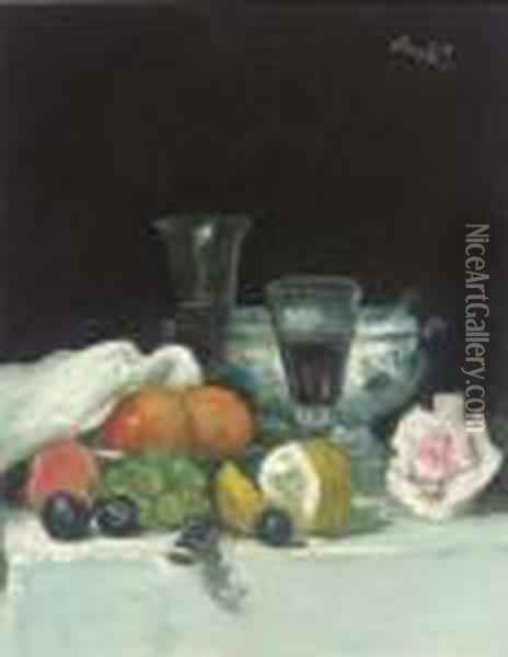 Still Life Of Fruit And A Rose Oil Painting - George Leslie Hunter