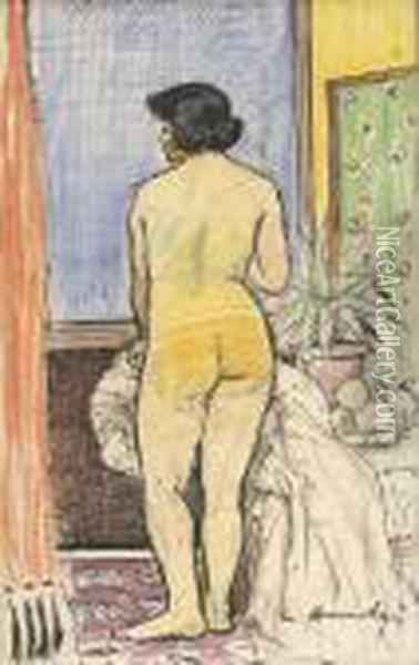 Nude By A Green Screen Oil Painting - George Leslie Hunter