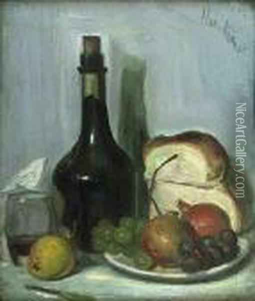 A Still Life Of Fruit, Bread And Black Bottle On A Tabletop Oil Painting - George Leslie Hunter