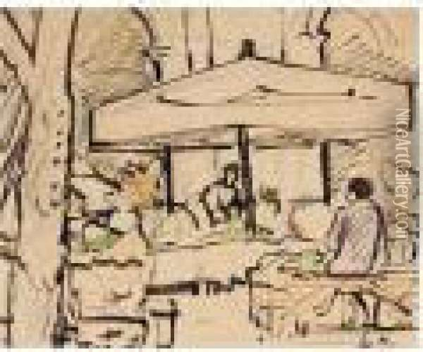 A French Market, C.1927; In A French Garden, C.1927; Sketch Of A Woman, C.1927-29 Oil Painting - George Leslie Hunter