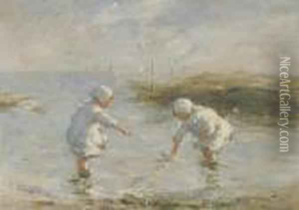 On The Beach, Carnoustie Oil Painting - Robert Gemmell Hutchison